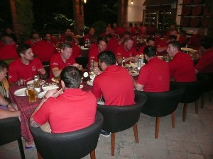 The Welsh rugby team enjoying Georgian cuisine.